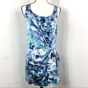 Cynthia Steffe Blue Silk Side Ruffle Sheath Dress